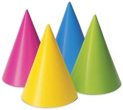 Creative Converting 20PH-0010 Party Hats, Assorted Neon, 8-P