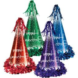 Beistle 60616 - Fringed Foil Happy Birthday Party Hats