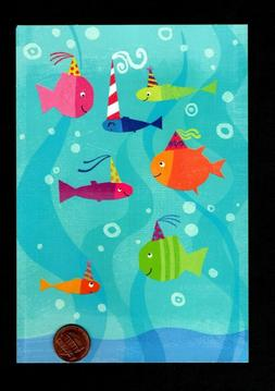 birthday fish ocean party hats glittered greeting