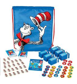 DR SEUSS Cat in the Hat DRAWSTRING BACKPACK w/ FAVORS 98 pc