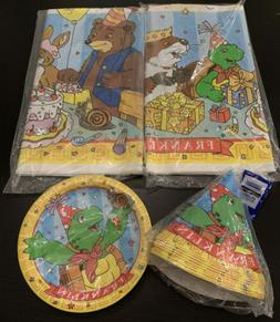 FRANKLIN & Friends PLASTIC TABLE COVER Plates, Hats Birthday