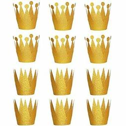 Gold Crown Hats, 12PCS Party Caps For Birthday Wedding Celeb