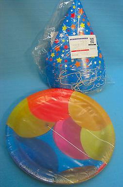 Party Plates & Hats Balloons & Stars Design Paper Blue Red Y